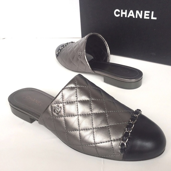 f84a2c26df3 Chanel Lambskin Quilted Slip On Mules Sandals